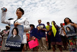 Supporters of Judge Sonia Sotomayor rallied near the Capitol on Wednesday.