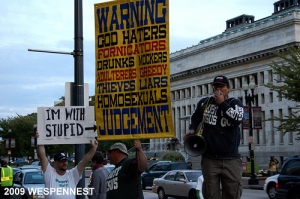 Anti-Gay counter protesters... and a counter-counter protester?