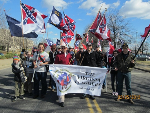 Matthew Heimbach marches with the Neo-confederate VA Flaggers.