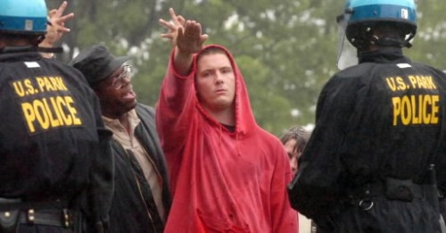 Daryle Lamont Jenkins, spokesman for the anti-racist One People s Project, yells at a KKK supporter during a 2006 rally the Klan held at Gettysburg National Military Park