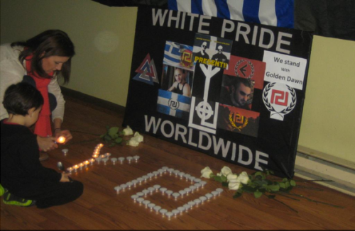 Laura Cole and her son at Golden Dawn memorial event