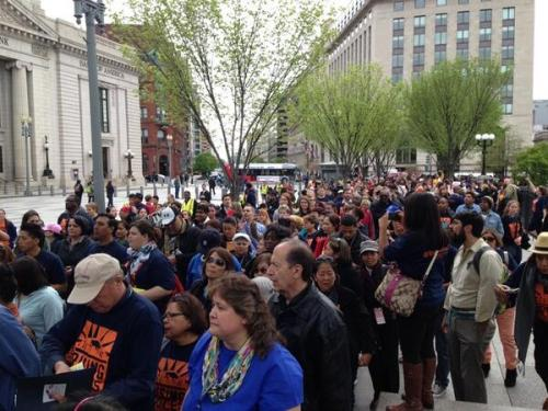 The crowd on the White House area plaza