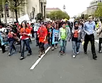 The march towards Capitol Hill-still from the UStream video