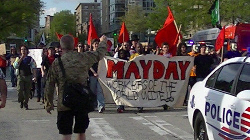 The inbound Mayday march