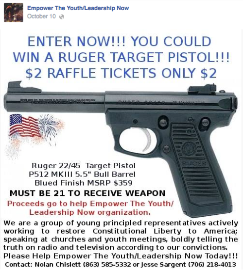 Advertising for a gun give away as a school activity?
