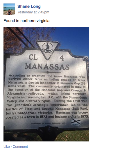 LOSer Shane Long brags about defacing a Virginia marker in Manassas.